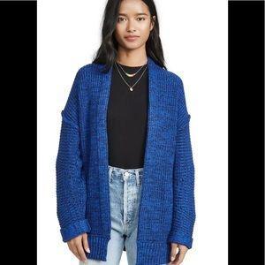 Free People knit  blue chunky cardigan xs /s